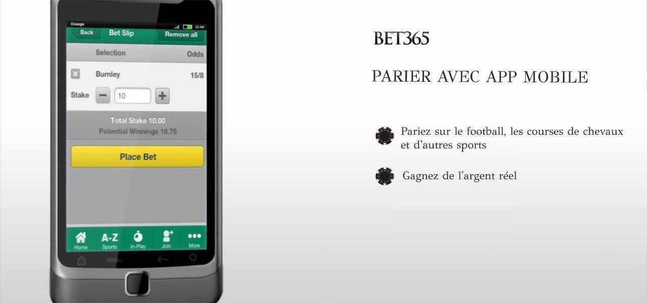 Parier avec bet365 app